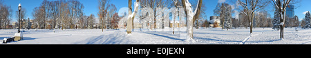 A panorama of a snow covered park in Ontario. - Stock Image