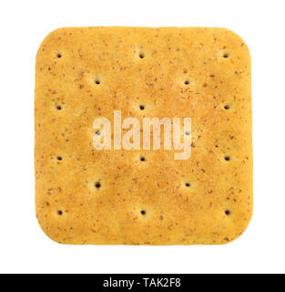 Square cracker with bran close-up isolated on white - Stock Image