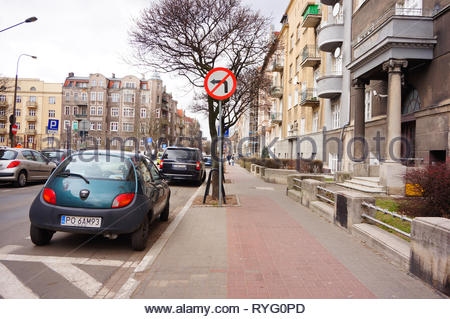 Poznan, Poland - March 8, 2019: Small Ford Ka parked on a parking spot in the city center. - Stock Image