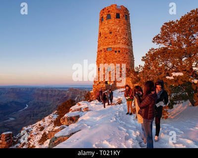 Tourists at Desert View Watchtower and overlook. Grand Canyon National Park, Arizona. - Stock Image