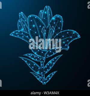 Lily flower low poly design, blossom in polygonal style, plant vector illustration on blue background - Stock Image