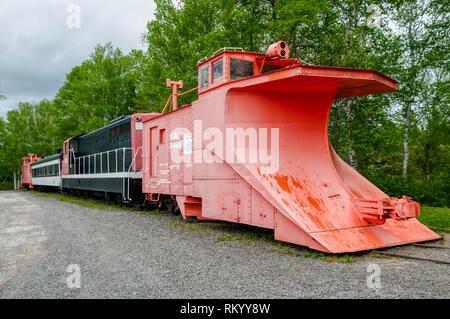 Preserved Snow Plough Extra train at Lewisporte Train Park, Lewisporte, Newfoundland. - Stock Image