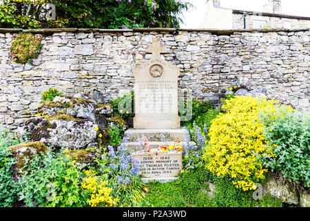 War memorial, Carperby village, North Yorkshire, in loving memory, killed in action, memorial, gravestone, memorials, Yorkshire war memorial, UK - Stock Image