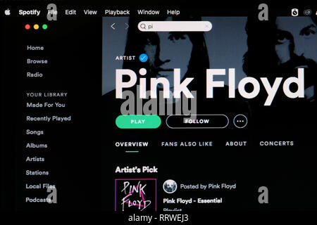 Pink Floyd Spotify home page - Stock Image