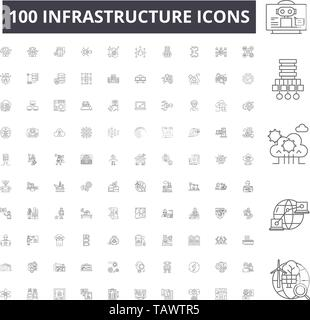 Infrastructure line icons, signs, vector set, outline illustration concept  - Stock Image
