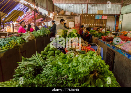 A food market in Muang Khua, Loas - Stock Image