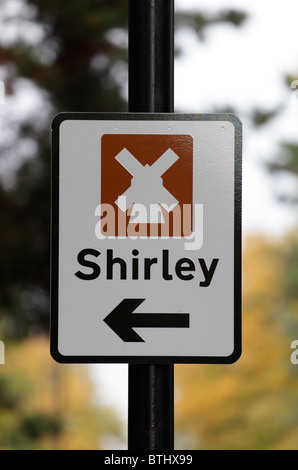 Road sign giving direction to the Shirley windmill - Stock Image