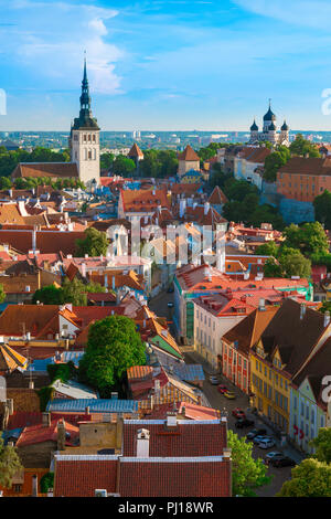Tallinn cityscape, view in summer across the roofs of the medieval Old Town quarter towards the west of the city, Tallinn, Estonia. - Stock Image