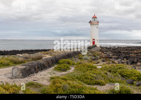 Port Fairy Lighthouse, Griffiths Island, Port Fairy, Victoria, Australia - Stock Image