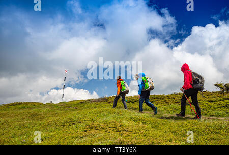 Back view of family on a trekking day in mountain - Stock Image