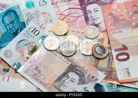 UK and EU money currency - Stock Image