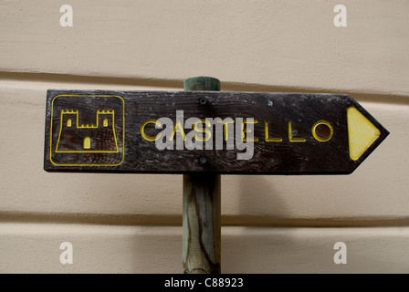 Sign to the castle - Stock Image