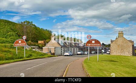 PORTGORDON MORAY SCOTLAND SIGNS AND MAIN ROAD INTO THE VILLAGE - Stock Image