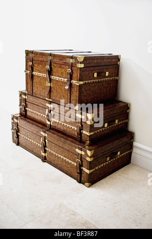 Stack of three chest boxes - Stock Image