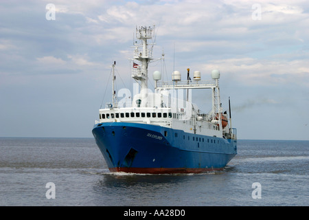 Ship on North Sea off Norfolk Coast England - Stock Image