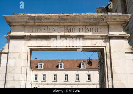 Entrance to the old Military Hospital in Auxerre, Burgundy, France, Europe - Stock Image