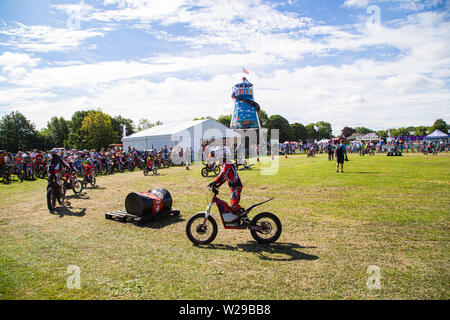 90th Kent County Show, Detling, 6th July 2019. 4 and over children on trial motorbikes. - Stock Image