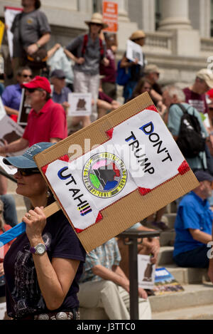 Salt Lake City - May 6, 2017: Supporters rally for Bears Ears National Monument at Utah State Capitol during visit - Stock Image