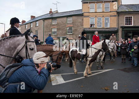 Boxing day hunt meet Hay on Wye - Stock Image