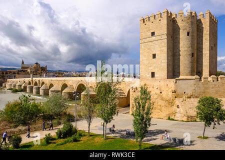 Calahorra Tower, at South end of Roman Bridge; Cordoba, Andalucia, Spain - Stock Image