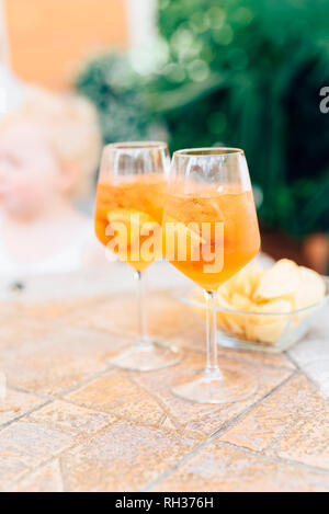 Cold drinks in glasses - Stock Image