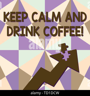 Text sign showing Keep Calm And Drink Coffee. Business photo text encourage demonstrating to enjoy caffeine drink and relax Colorful Arrow Pointing Up - Stock Image