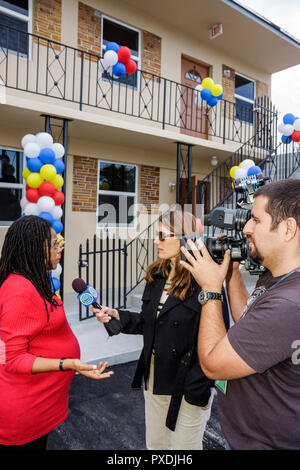 Miami Florida Overtown Community Redevelopment Agency Rehabilitated Affordable Housing Ribbon Cutting Ceremony Black woman man C - Stock Image
