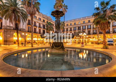 Night view of Placa Reial square or Plaza Real in the Gothic Quarter, Barcelona, Catalonia, Spain - Stock Image