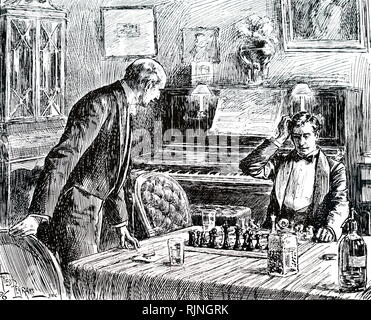 An engraving depicting a friendly game of Chess aided by a whisky and soda. Dated 19th century - Stock Image