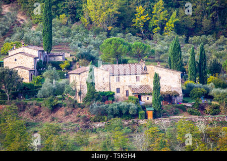 Tuscan farmhouse in the countryside around Panzano in Chianti,Tuscany,Italy - Stock Image