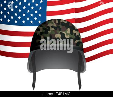 united state flag with military helmet vector illustration graphic design - Stock Image