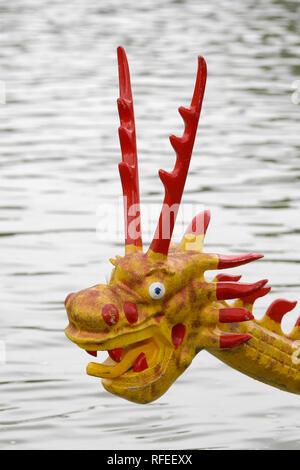 Dragon boat prow figurehead antlers fierce - Stock Image