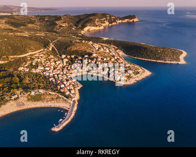 Sunset over Thasos Island as seen from above. Drone shot over Skala Marion and Platanes Beach in Thasos Island, Greece - Stock Image