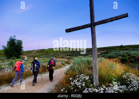 Camino de Santiago (Spain) - Pilgrims  walking along the way of St.James in the Bierzo landscape - Stock Image