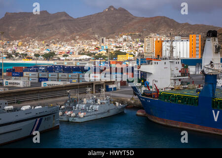 Shipping in Mindelo Port, Sao Vicente, Cape Verde Islands - Stock Image