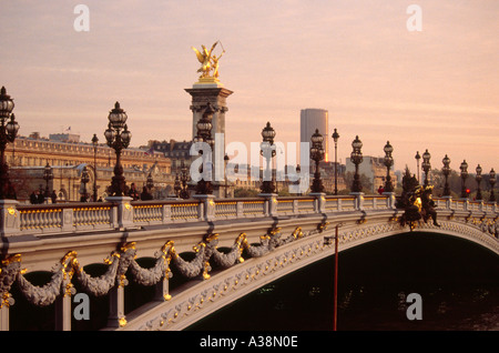 Alexander Troise III Bridge Over the River Seine, Paris, France - Stock Image