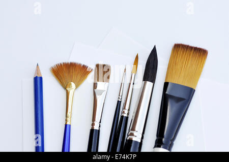 Watercolor supplies - brushes - Stock Image