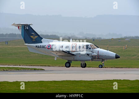 French Marine EMB-121 Pingu arriving at RAF Lossiemouth in Scotland in April during the 2017 Joint Warrior exercise - Stock Image