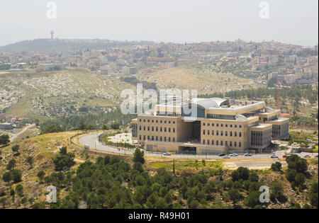 5 May 2018 A view of a very modern commercial building in Nazareth Israel from the Mount Precipice. Tradition has this as the place where an angry mob - Stock Image