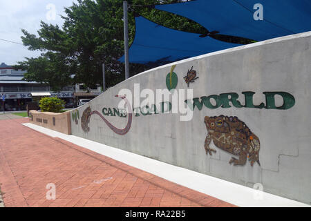 Cane Toad World, celebrating the site where these now notorious invasive pests were first released in Australia, Gordonvale, near Cairns, Queensland,  - Stock Image