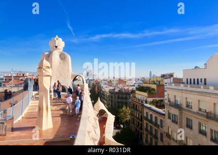 Barcelona, Spain, October 2018. View from the roof of Gaudi's Casa Mila also known as La Pedrera. Hot sunny morning. - Stock Image