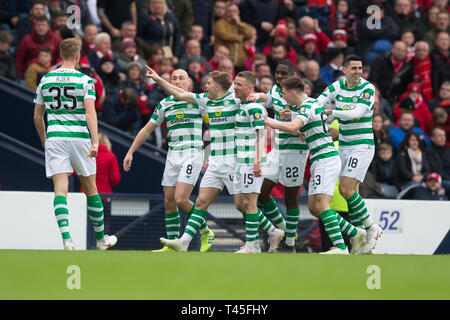 Hampden Park, Glasgow, UK. 14th Apr, 2019. Scottish Cup football, semi final, Aberdeen versus Celtic; James Forrest of Celtic is congratulated after scoring for 1-0 Credit: Action Plus Sports/Alamy Live News - Stock Image