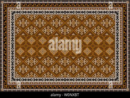 Luxury vintage oriental carpet in brown shades with beige, gray and black patterns - Stock Image