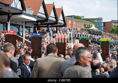 England, Cheshire, Chester. Bookmakers at Chester Racecourse - Stock Image
