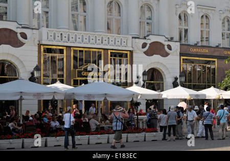 Cafe Gerbeaud, Vorosmarty ter square, Belvaros, central Budapest, Hungary, - Stock Image