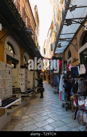 CORFU, GREECE - APRIL 7, 2018: Narrow streets of Kerkyra Town, Corfu island, Greece. - Stock Image