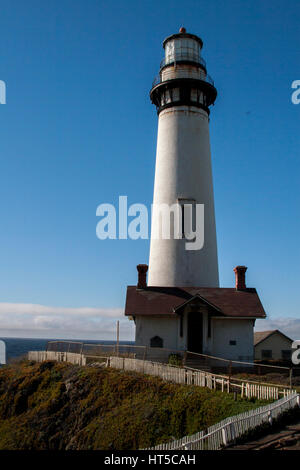 Views of Pigeon Point Lighthouse on Highway 1 on the northern California coast. - Stock Image