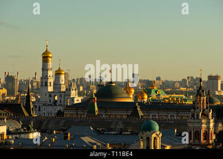 MOSCOW, AUGUST 8, 2018: Ivan the Great belfry of Moscow Kremlin, dome of Kremlin's Senate building with the Standard of the President of the Russian F - Stock Image