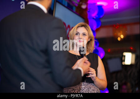 Stockholm, Sweden, September 9, 2018. Swedish General Election 2018.  Election Night Watch Party for Sweden Democrats (SD) in central Stockholm, Sweden. Paula Bieler (SD). Credit: Barbro Bergfeldt/Alamy Live News - Stock Image