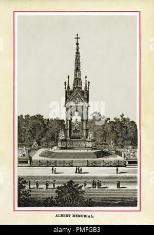The Albert Memorial, 1883 high quality steel engraving of the statue in Kensington Gardens completed in 1872 commissioned by Queen Victoria in memory of her consort who died in 1861, designed by Sir George Gilbert Scott - Stock Image